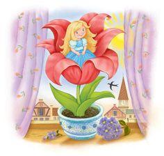 картинка дюймовочка на цветке на прозрачном фоне ложкой