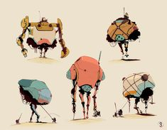 The idea is these dwarf like Nomadic people, have enslaved the robots to mine and move the resources they desire. The robot arms have either been removed or completely damaged so they cant fight back. The Nomads commonly retro fit the robots with extra components, which are attached like a saddle on a horse so only the nomads can control them.