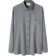 La Garçonne Moderne Boy Wool Check Shirt (275 AUD) found on Polyvore featuring tops, shirts, blouses, pleated shirt, button down collar shirts, long sleeve tops, shirts & tops and long sleeve shirts