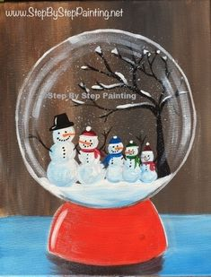 Learn how to paint a snow globe with acrylics on canvas. This beginner painting tutorial will show you how. Customize your own family of snowmen inside. Snowmen Paintings, Christmas Paintings On Canvas, Cute Canvas Paintings, Christmas Tree Painting, Christmas Canvas, Christmas Drawing, Christmas Art, Christmas Ideas, Canvas Art