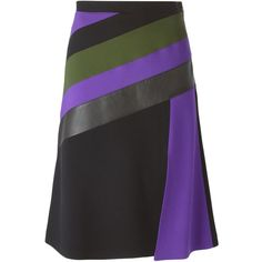 Emanuel Ungaro Striped a-Line Skirt ($886) ❤ liked on Polyvore featuring skirts, black, a line skirt, black knee length skirt, striped a line skirt, multi color skirt and black striped skirt