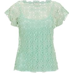Monsoon Laguna Lace Top ($71) ❤ liked on Polyvore featuring tops, shirts, monsoon, green lace top, green shirt, green top, green lace shirt and lace top
