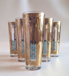 Gorgeous Mid Century Gold and Turquoise by myvintagemodernhome, $50.00