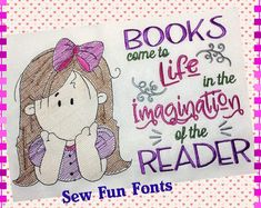 Books Come To Life With Thinking Girl, Wispy Filled Design, Reading Pillow Saying Pocket Pillow, Machine Embroidery Design INSTANT DOWNLOAD
