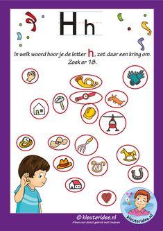 Pakket over de letter h blad 8, waar hoor je een h, antwoorden, letters aanbieden aan kleuters, kleuteridee, free printable.