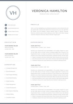 Your resume is one of your best marketing tools. The goal of your resume is to tell your individual story in a compelling way that drives prospective employers to want to meet you. One Page Resume Template, Modern Resume Template, Creative Resume Templates, Cv Template, Creative Cv, Interior Design Resume Template, Templates Free, Cover Letter For Resume, Cover Letter Template