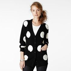 Quirky cute: The oversize polkadots are quirky cute in a Brigitte Bardot kinda way. Do match with polkadotted bag and braided hair for a cute girlnextdoorinthesixties kinda feel. Drew cardigan by Kate Spade.