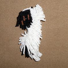 Happy Papillon dog bead embroidery custom beaded pin etsy black white