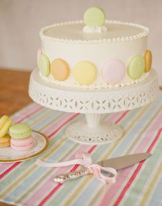 CLASSIC VANILLA -   Our classic vanilla cake filled with  vanilla buttercream and garnished with colourful French macarons.