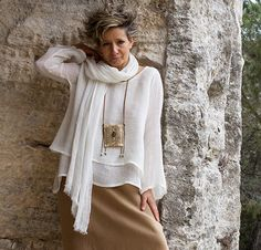'Séléné': Loose fit layered  off white linen gauze top worn over  a linen sarouel skirt havana color , Look Fashion, Fashion Outfits, Womens Fashion, Vetements Clothing, Cordon En Cuir, Cool Outfits, Casual Outfits, Types Of Skirts, Advanced Style