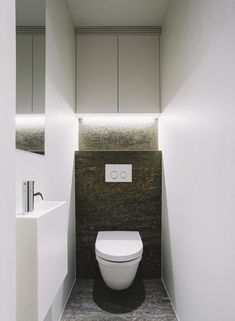 Space Saving Toilet Design for Small Bathroom - Home to Z Small Downstairs Toilet, Small Toilet Room, Guest Toilet, Downstairs Bathroom, Bathroom Layout, Wc Bathroom, Bathroom Closet, Bathroom Ideas, Bathroom Design Luxury