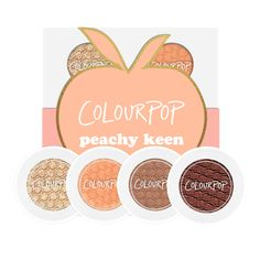 Peachy Keen eyeshadow foursome available only at www.colourpop.com for $15.00   Crimper: Soft gold with multi-dimensional gold glitter in a metallic finish Kennedy: True mid tone peach in a matte finish Cornelious: Mid-tone warm caramel in a matte finish Bandit: Warm rusty brown with a matte finish