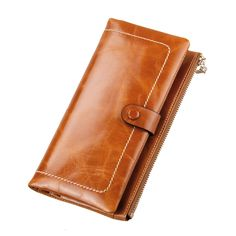 Yafeige Womens Cow Leather Wallet Zipper Clutch Purse credit card holder Money Clip (Brown). *Material: leather (Top grain oil wax cowhide). *Commodity Structure: 10 Credit card slots and 1 photo slot, 3 full long pockets, 1 zippered pocket. *Characteristics: Snap closure. Stylish simplicity 2 Bifold leather wallet, Use High-quality leather And hardware accessories, smooth zipper. Can be easily put in the mobile phone, money, bank card, notes. 8 colors to choose from, each color is very...
