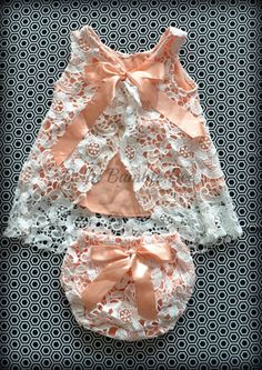 3a0b082fd7f Peach Crochet Lace Swing Top Shirt and Bloomer Diaper Cover Set