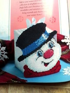 Snappy Snowman Tissue Box Cover by HappyStitchingFinds on Etsy Plastic Canvas Ornaments, Plastic Canvas Tissue Boxes, Plastic Canvas Crafts, Plastic Canvas Patterns, Yarn Storage, Plastic Canvas Christmas, Canvas Designs, Sewing Art, Tissue Box Covers