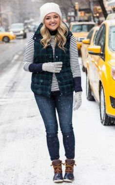 I love this quilted plaid vest with the striped shirt underneath and duck boots