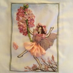 Almond blossom flower fairy. Hand embroidery, silk ribbon and threads. Di Van Niekerk flower fairy design