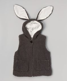 Loving this Brown Bunny Ears Fuzzy Hooded Vest - Toddler & Kids on #zulily! #zulilyfinds