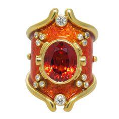Elizabeth Gage Heliotrope Mandarin Garnet Diamond Gold Ring. 21st Century