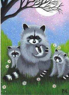 ACEO Print Raccoon Baby Flower Moon | eBay