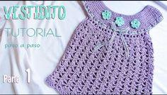 Knitting and Bordado Crochet Girls, Crochet For Kids, Free Crochet, Knit Crochet, Crochet Hats, Knitting Videos, Crochet Videos, Toddler Dress, Baby Dress