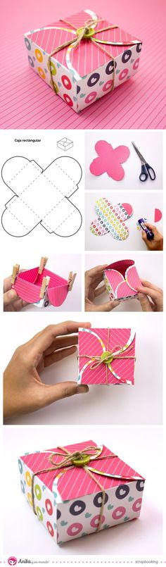 Square gift box with self-closing | DIY Crafts Tips
