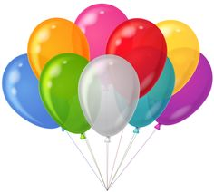 Bunch Transparent Colorful Balloons Clipart