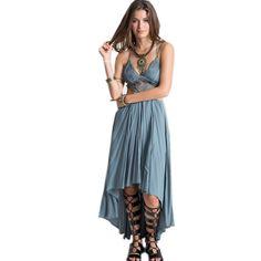 Barato 2016 Novas Mulheres Verão Top Colheita Rendas Bohemian Praia Maxi Dress Moda Feminina Irregular Chiffon Vestidos Longos 80681 Luz Azul, Compro Qualidade Vestidos diretamente de fornecedores da China: