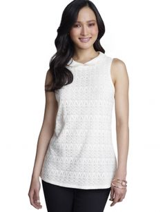 Tops for Women: Peter Pan Collar Lace Shell: The Limited
