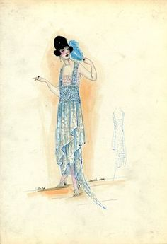 """<em>""""Evening Dress, Worth, 1917. Light blue dress with silver design, assymetrical skirt with train and fringe at hem; sleeveless bodice with  design on shoulder straps and waistband. (Bendel Collection, HB 021-13)""""</em>, 1917. Fashion sketch, 12.25 x 8.5 in (31.1 x 21.6 cm). Brooklyn Museum, Fashion sketches. (Photo: Brooklyn Museum, SC01.1_Bendel_Collection_HB_021-13_1917_Worth_SL5.jpg"""