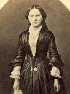 """Emily's Vintage Visions: Great Hair Fridays - The 1860s    Mid 1840's-Late 1840's dress, fanned out bodice with """"V"""" styled bodice, chemisette underneath."""