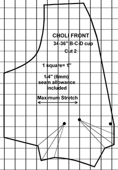 Free choli pattern from sizes 32A - 42E for stretch fabrics. #diyclothes