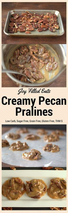 My Creamy Pecan Pralines will make you dream of New Orleans. They are low carb, sugar free, gluten free, grain free, a THM S. via Joy Filled Eats - Gluten Sugar Free Recipes Sugar Free Desserts, Köstliche Desserts, Sugar Free Recipes, Low Carb Recipes, Delicious Desserts, Dessert Recipes, Yummy Food, Cooking Recipes, Kid Cooking