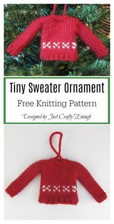 This adorable Tiny Sweater Ornament Free Knitting Pattern is a fun way to add a DIY touch to your tree. Knitted Christmas Stocking Patterns, Knitted Christmas Decorations, Knit Christmas Ornaments, Knitted Christmas Stockings, Christmas Sweaters, Crochet Ornaments, Handmade Ornaments, Jumper Knitting Pattern, Knitting Patterns Free