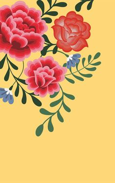 Welcome the bright and summery tones of this red & yellow floral wallpaper to your space, inspired by Frida Kahlo's art. Flower Backgrounds, Flower Wallpaper, Of Wallpaper, Pattern Wallpaper, Wallpaper Backgrounds, Iphone Wallpaper, Iphone Backgrounds, Tons Clairs, Illustration Blume