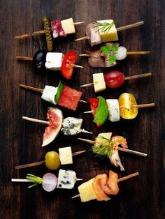 party finger food: vegetables, meat, fruits