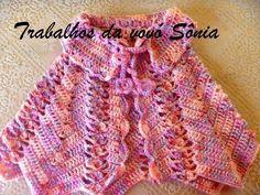 Trabalhos da vovó Sônia: Capinha (pelerine) infantil rosa mescla Hannah - c...