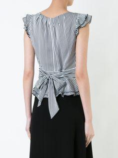 Guild Prime блузка в полоску с оборками на рукавах