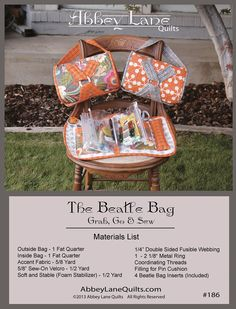 Beatle Bag By Liljenquist, Janice & Owen, Marcea  - The Beatle Bag is your personalized traveling bag.  We use it as a sewing kit, but you could store beads, flosses, make-up or jewelry.  Great for all kinds of uses.  Want to make more than one, we have extra sets of inserts available also item ALQR186. 11in x 20in. Includes 4 Beatle Bag Inserts.  @Checker Distributors