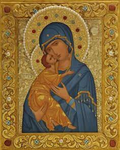 An icon of the Mother of God of Vladimir in a metal oklad with semiprecious stones and strasses. The icon is decorated with gold leaf Religious Images, Religious Icons, Religious Art, Christian Artwork, Russian Icons, Byzantine Icons, Joseph, Madonna And Child, Virgo