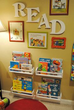 The shelves are spice racks! Reading corner in kids playroom Toy Rooms, Kids Rooms, Small Kids Playrooms, Room Kids, Kids Storage, Storage For Books, Creative Storage, Creative Kids, Book Nooks