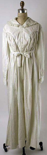 Nightgown Date: ca. 1821 Culture: American or European Medium: linen. Front
