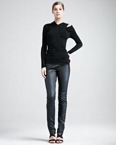 Cold-Shoulder Jersey Top & Jersey-Stripe Leather Pants by Donna Karan at Bergdorf Goodman.