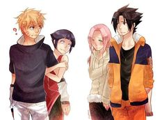 DAWW, THIS IS SO CUTEEEEE!!!!!  #naruhina #sasusaku FTW! (by the way, hinata and sakura's clothes are switched too, cute!)