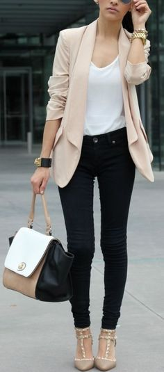 White tank, black skinnies, nude blazer and heels