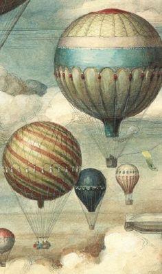 Vintage Labels, Vintage Ephemera, Vintage Paper, Vintage Art, Air Ballon, Hot Air Balloon, Vintage Pictures, Vintage Images, Decoupage Paper