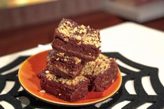 Carla Hall's Halloween Brownies-Use a 9X9 inch pan/  also do not add any salt to the ganache-mistake in the recipe!!!  These taste delicious.  I used frozen snickers :-) I did not add the ganache on the top....does not need it!!