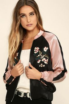6bb2775f42e Girl Squad Pink and Black Embroidered Satin Bomber Jacket