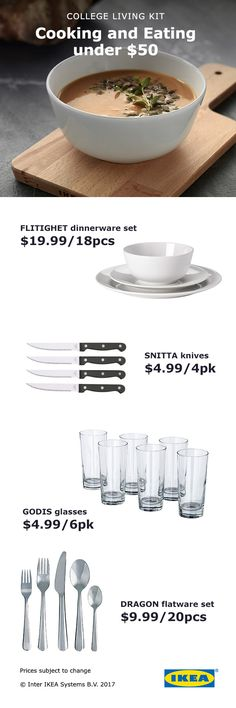 Learn to cook for yourself with an IKEA cooking and eating kit, perfect for college students (and budding chefs!).