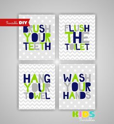 Printable DIY Kids Bathroom Art, Lime Green, Navy, Grey, Brush, Flush, Hang, Wash, Set of 4, 8x10 JPG files ( stln ) on Etsy, $12.00